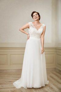 volslanke trouwjurk met soepelvallende rok