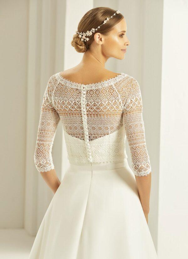 Bianco Evento bolero voor over bruidsjurk met driekwart mouw kant achterkant