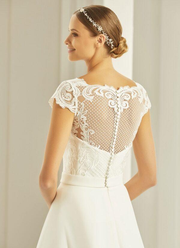 Bianco EVento bolero voor over een bruidsjurk met kapmouwtje