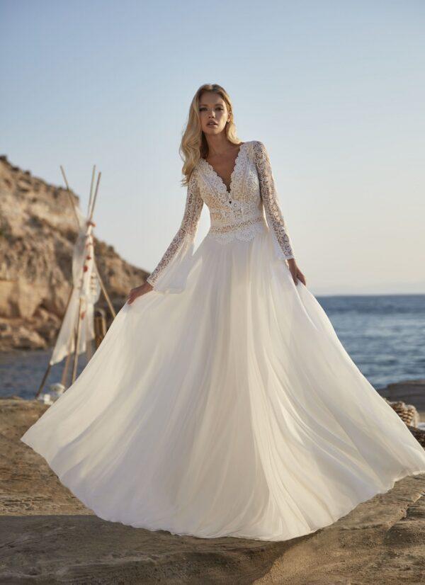 Bohemian trouwjurk herve paris met lage rug en lange mouw
