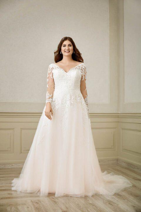 volslanke bruid met een mooie a-lijn trouwjurk